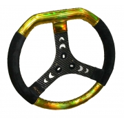 Steering Wheel Gold Holographic Carbon Mondokart, mondokart