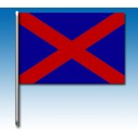 Blaue Flagge mit einem roten Kreuz