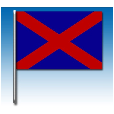 Blaue Flagge mit einem roten Kreuz, MONDOKART, Fahnen