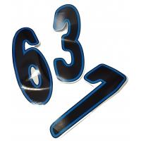 Numero de course adhesif Noir/Blue