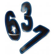 Numero de course adhesif Noir/Blue, MONDOKART, kart, go kart