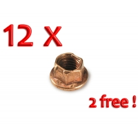 Nut flanged copper M8 for wheel rims - PACK 10 + 2 FREE