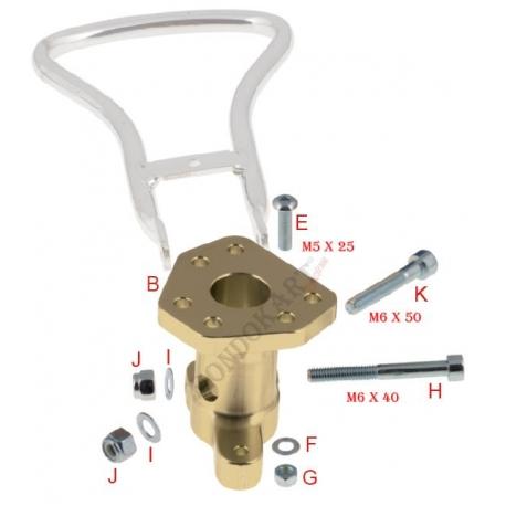 Mozzo volante alluminio - 6 fori con supporto leva frizione OTK